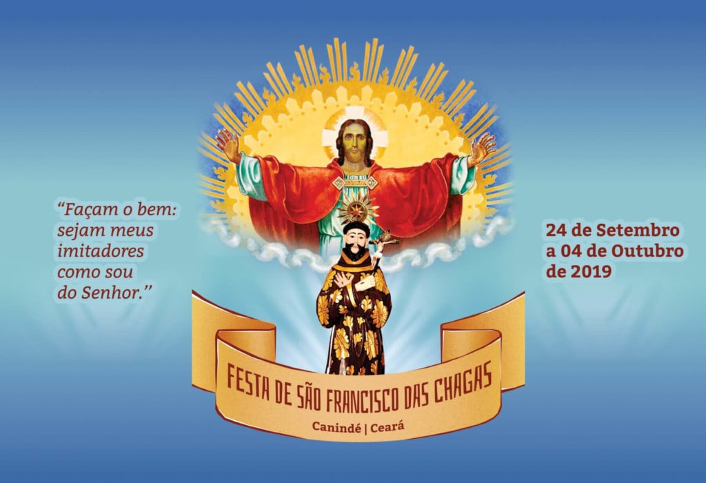 Ilustração da festa com Jesus de braços abertos e São Francisco a frente